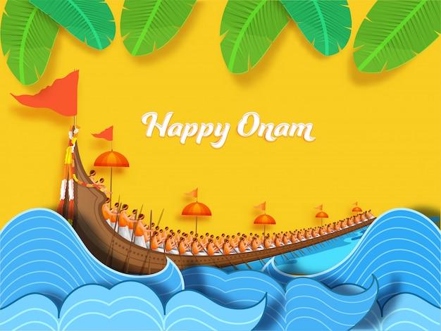 Happy onam concept con aranmula boat race, paper cut water waves y banana leaves decorated sobre fondo amarillo.