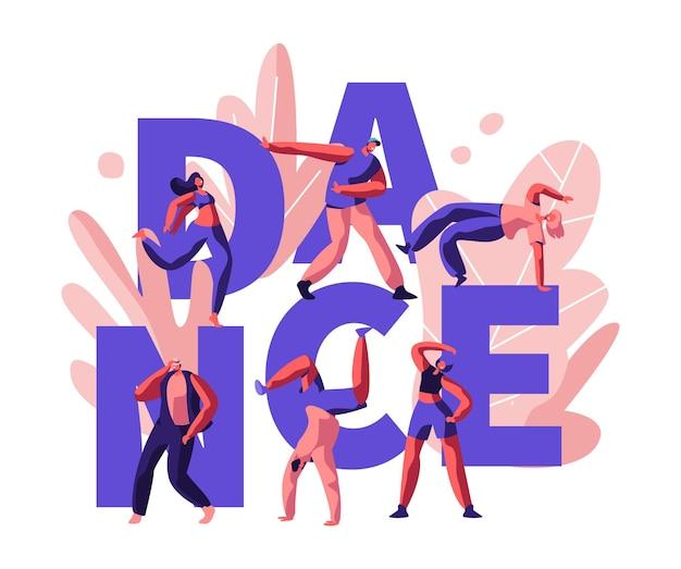 Happy people clubbing and dancing disco. ilustración plana de dibujos animados
