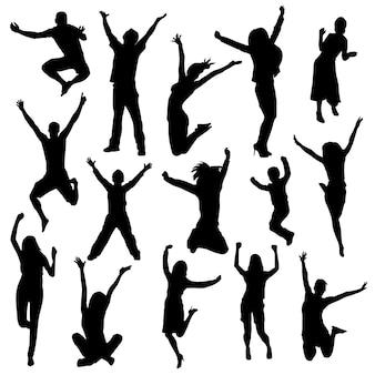 Happy people silhouette clip art