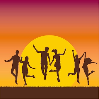 Happy people sunset2