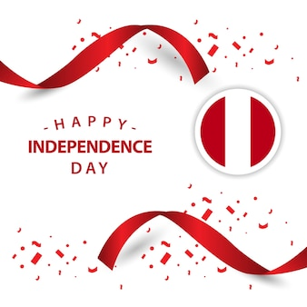 Happy peru independent day vector template design