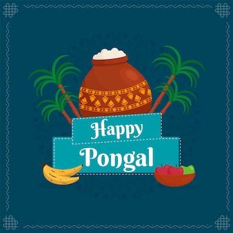 Happy pongal texto con plato tradicional en olla de barro