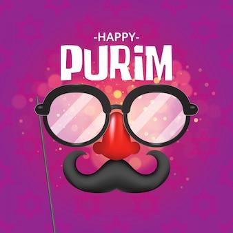 Happy purim con máscaras y accesorios tradicionales.