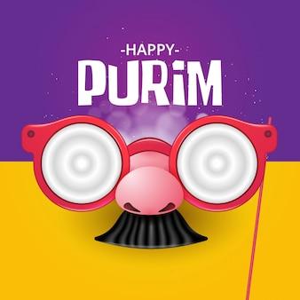 Happy purim con máscaras divertidas