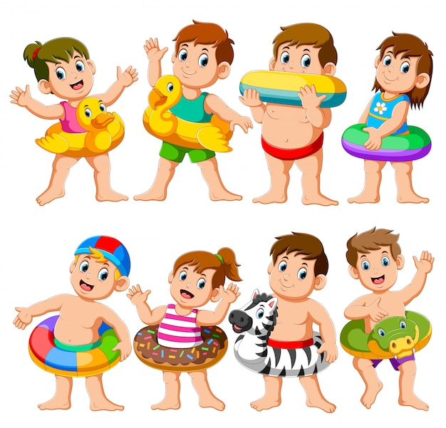 Happy relax holiday children pool party con flotadores inflables