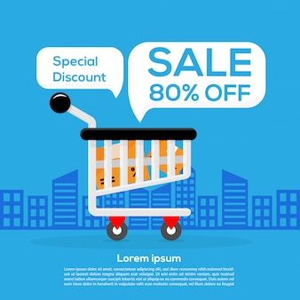 Happy shopping promotion big sale 80% de descuento banner design