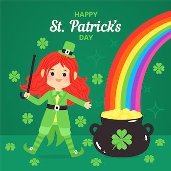 Happy st. día de patricio dibujado a mano con arco iris
