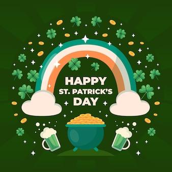 Happy st. ilustración del día de patrick con arco iris y cerveza