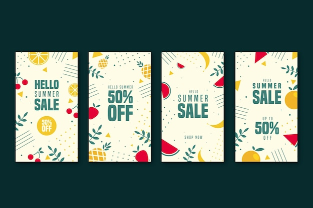 Happy summer sale instagram story collection