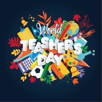 Happy teacher s day concepto de cartel con iconos brillantes.