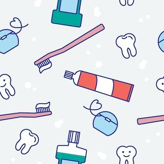Happy teeth and dental care seamless pattern