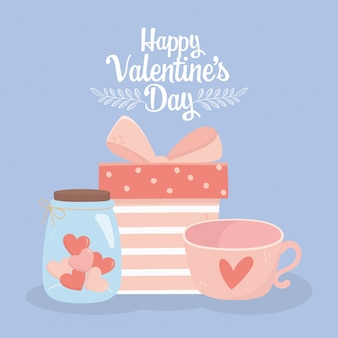 Happy valentines day gift box coffee cup and jar glass heart love card