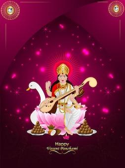 Happy vasant panchami elementos creativos y fondo