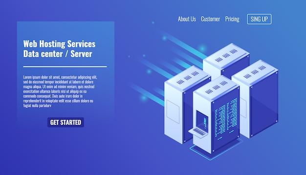 Hardware de la computadora, rack de la sala del servidor, alojamiento de sitios web, centro de datos de la base de datos