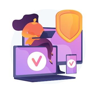 Hardware de seguros electrónicos. sitio web de aseguradoras digitales, diseño web receptivo, software de protección contra malware. garantía de seguridad de gadgets. ilustración de metáfora de concepto aislado de vector