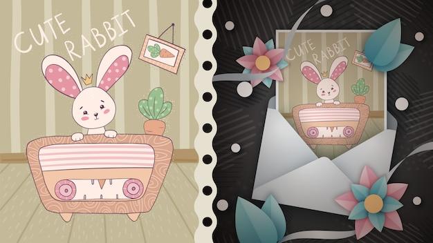 Hare escucha la idea de radio para la tarjeta de felicitación