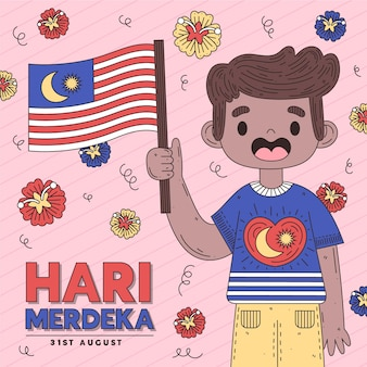 Hari merdeka con persona sosteniendo bandera