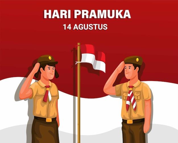 Hari pramuka es el día de exploración indonesia el 14 de agosto con estudiantes saludando el vector de la bandera indonesia
