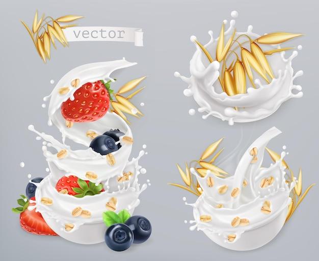 Harina de avena. granos de avena, fresa, arándano y salpicaduras de leche. conjunto de iconos realista
