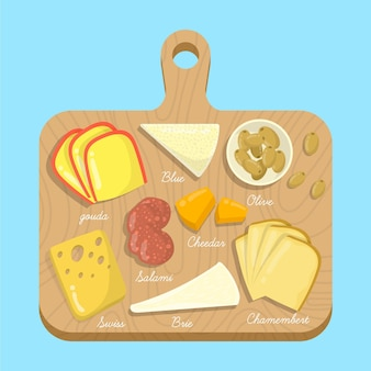 Harina de queso sobre tabla de madera