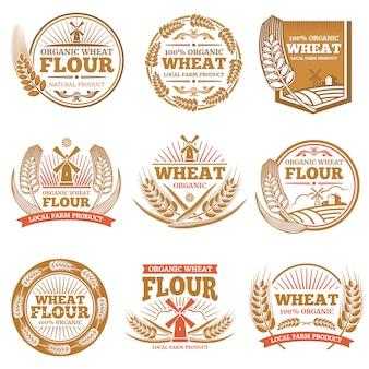 Harina de trigo ecológica, etiquetas y logos de productos de grano de cultivo.