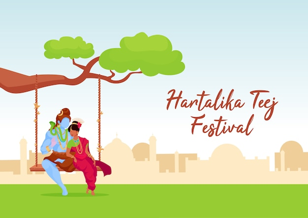 Hartalika teej festival poster plantilla plana