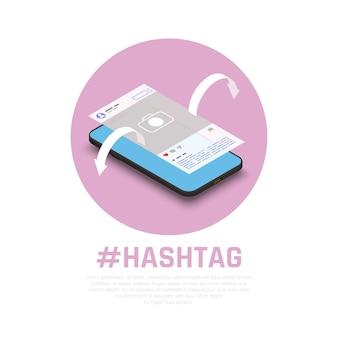 Hashtags para la promoción exitosa de temas de mensajes de productos en composición isométrica de redes sociales con marketing en teléfonos inteligentes