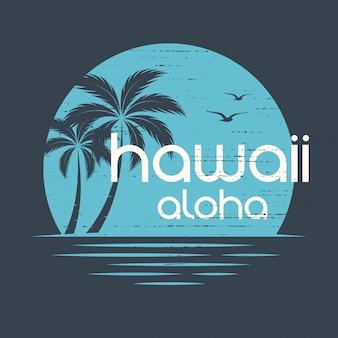 Hawai puesta de sol. diseño de camiseta y ropa, estampado, typogra