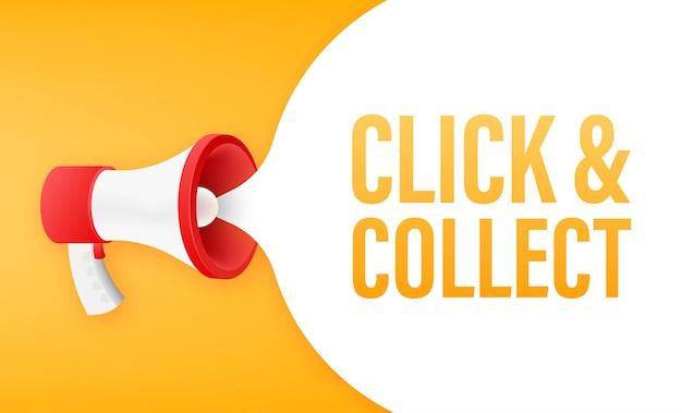 Haz clic en el megáfono y recoge el banner. estilo plano. icono de vector de sitio web. ilustración de stock vectorial.
