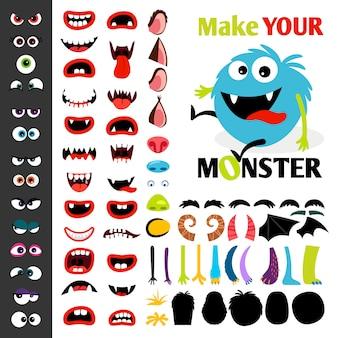 Haz un conjunto de iconos de monstruos, con ojos, bocas, orejas y cuernos, alas y partes del cuerpo de la mano.