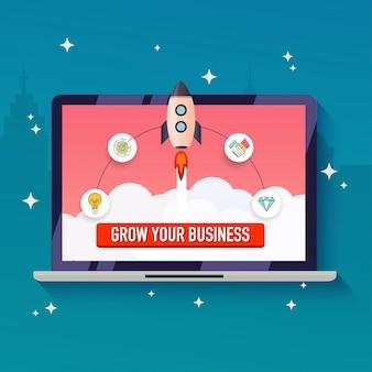 Haz crecer tu concepto de negocio. ilustración moderna de diseño plano.
