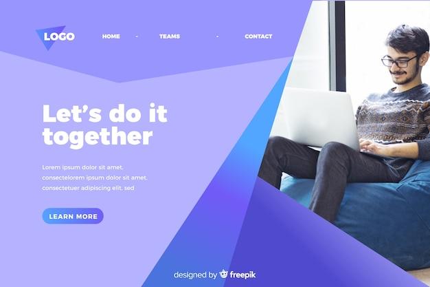 Hazlo juntos página de inicio de negocios con foto