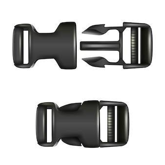 Hebilla negra de liberación rápida doble, cerrada y abierta. aislado sobre fondo blanco