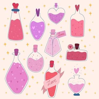 Hechizo de amor de san valentín. tarro de poción romántica. ilustración dibujada a mano.