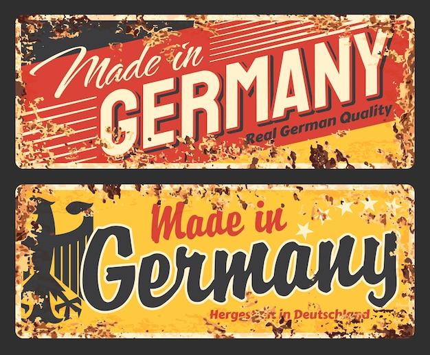 Hecho en alemania placa de metal oxidado, cartel de chapa de óxido vintage con águila alemana negra y tipografía