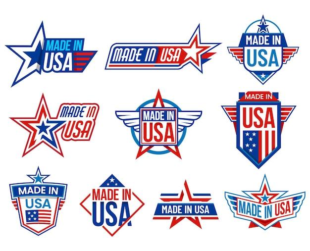 Hecho en carteles de etiquetas de estados unidos con estrellas de bandera.