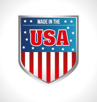Hecho en escudo de emblema de estados unidos.