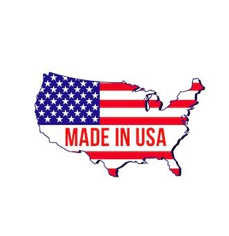 Hecho en etiqueta de estados unidos, mapa y bandera de estados unidos