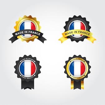 Hecho en francia emblema insignia etiquetas ilustración plantilla dsign