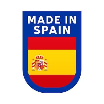 Hecho en icono de españa. etiqueta engomada del sello de la bandera nacional del país. ilustración vectorial icono simple con bandera