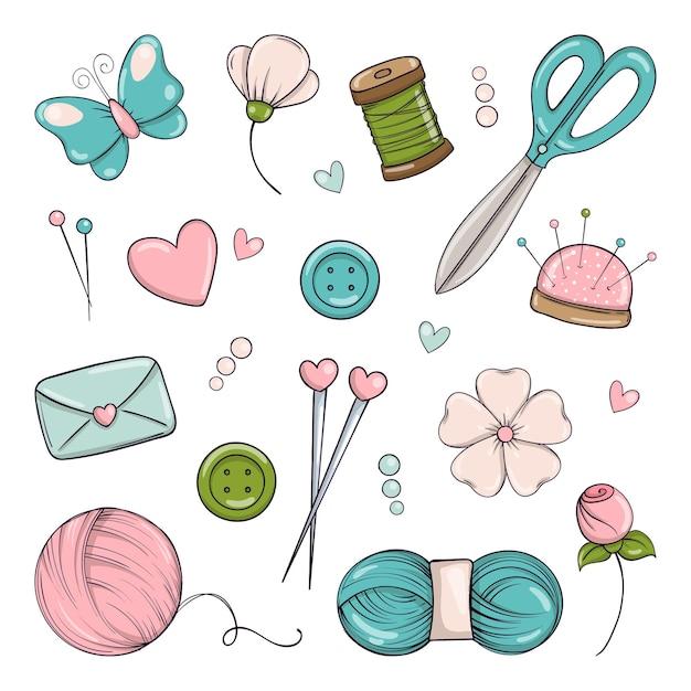 Hecho a mano. conjunto de elementos para tejer, coser y bordar en estilo doodle.