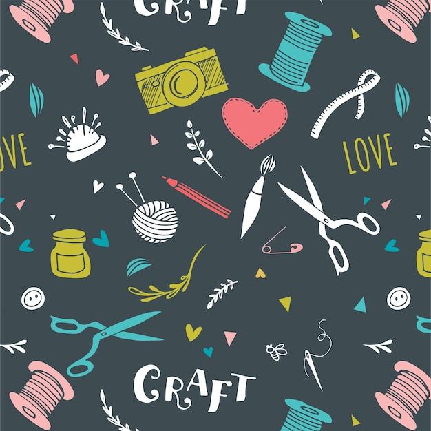 Hecho a mano, patrones artesanales y vector dibujado a mano.