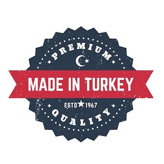 Hecho en turquía, insignia vintage, emblema, sello