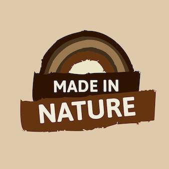 Hecho en vector de etiqueta de la naturaleza para la campaña de marketing de alimentos de dieta saludable