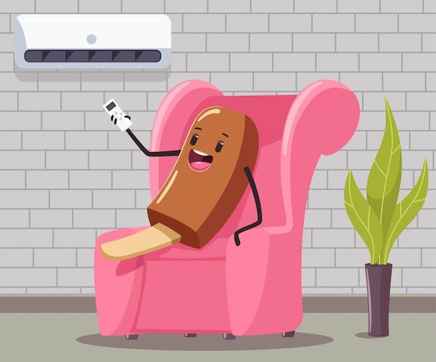 Helado divertido con control remoto del aire acondicionado se sienta en el sofá en el interior de la habitación