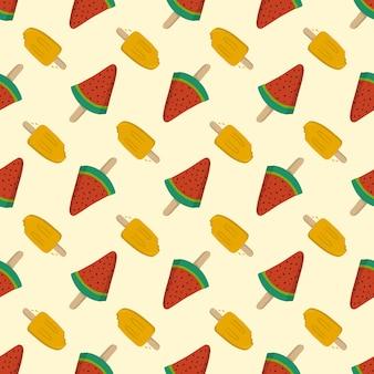 Helado de frutas sin costura de verano, plantilla de patrón para textil o fondo