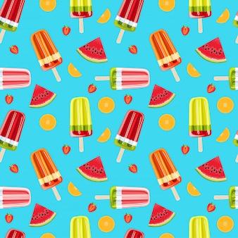 Helado y frutas tropicales de patrones sin fisuras. brillante verano sin patrón. ilustración de frutas y hielo de frutas.