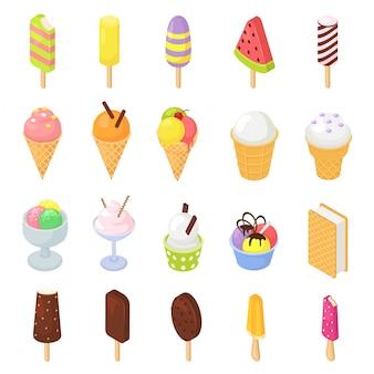 Helado helado de vector en cono con vainilla de chocolate y postre helado de nata en cucharada de glaseado de caramelo helado de crema isométrica