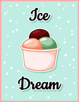 Helado hielo sueño tiempo postal de dibujos animados lindo