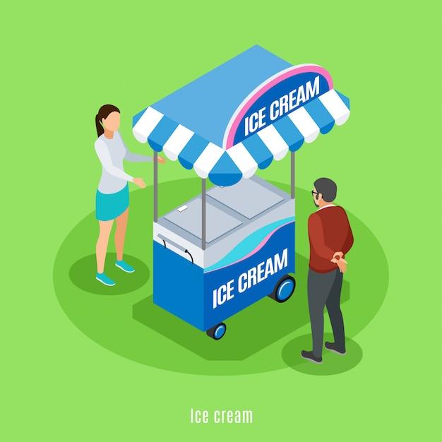 Helado isométrico con vendedor y comprador de pie cerca del carro de la calle con ilustración de vector de alimentos congelados dulces